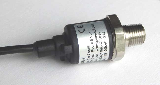 P1650-5 Pressure Sensor with 316L SS wetted parts and 0-5 psig range.